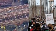 Tienduizenden rouwenden stappen over iconische Brooklyn Bridge in New York tijdens herdenking George Floyd: brug moet afgesloten worden