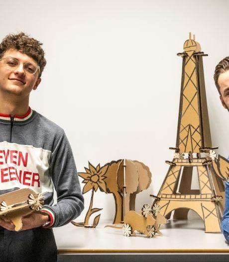 Speelgoed voor bouwwerken van karton: Eindhovense studenten Mauk en Chris maakten van een studieproject een bedrijf