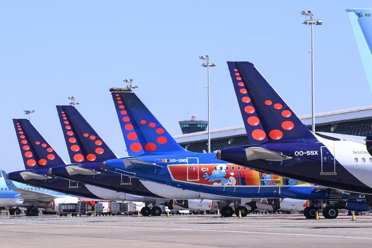 Vliegtuigen van Brussels Airlines in Zaventem. Beeld Photo News