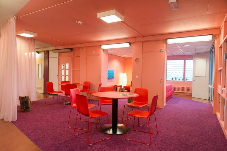 Roze en rood overheersen in The Movement Hotel Beeld Charlotte Odijk