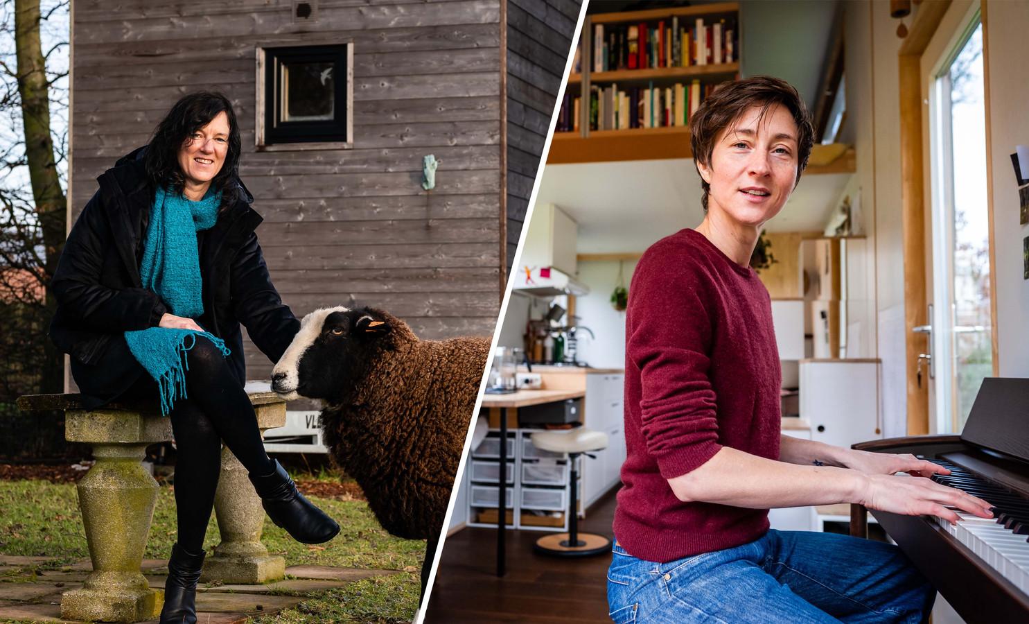 Marion Naert (48) en Miet Vanhassel (41), bewoners van een tiny house.