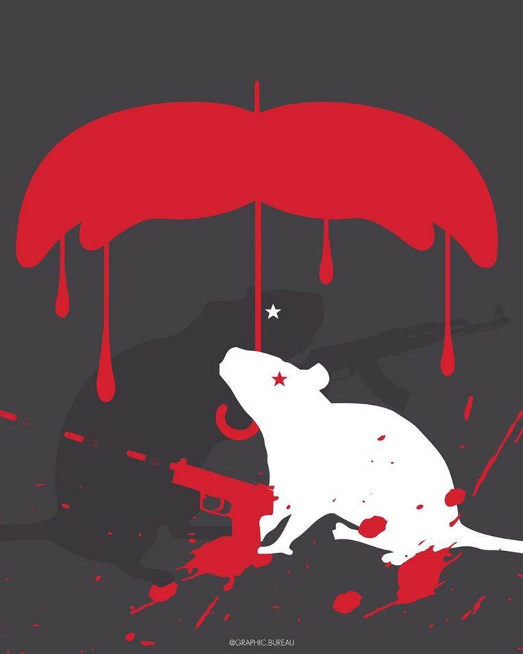 Werk van graficus Eduardo Chumaceiro: de schietende rat wordt beschermd door een van bloed druipende paraplu in de vorm van de snor van president Maduro. Beeld Eduardo Chumaceiro / Graphic.Bureau