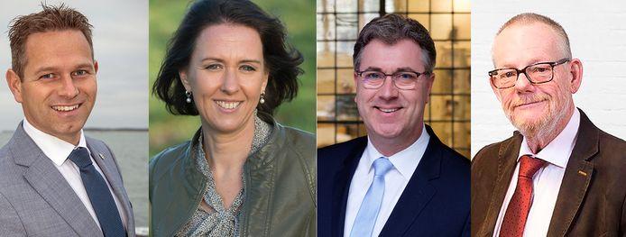 Kandidaat-gedeputeerden Jo-Annes de Bat, Anita Pijpelink, Harry van der Maas en Dick van der Velde.