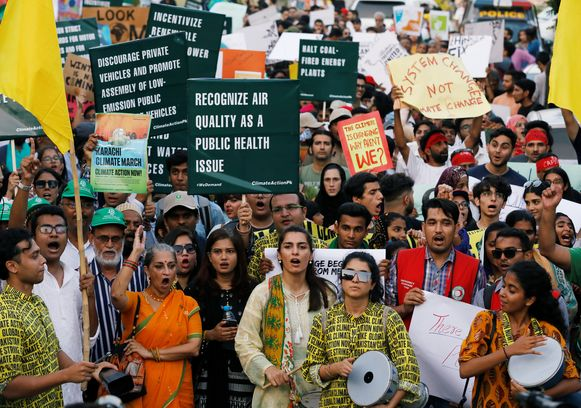 Klimaatbetogers in Pakistan.