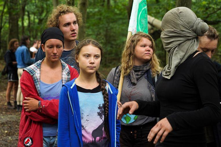 Greta Thunberg in het bos van Hambach