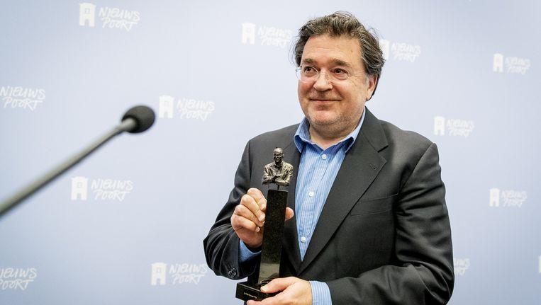 Winnaar Leon de Winter tijdens de uitreiking van de jaarlijkse Pim Fortuyn Prijs. Beeld anp