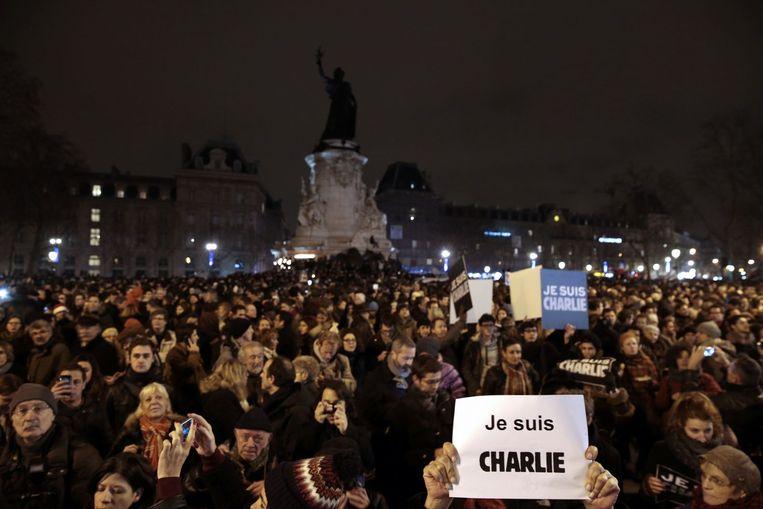 Protestanten op het Place de la Republique. Beeld anp