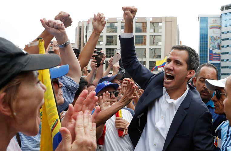 Juan Guaidó vlak voordat hij zichzelf uitroept tot interim-president. Beeld Reuters