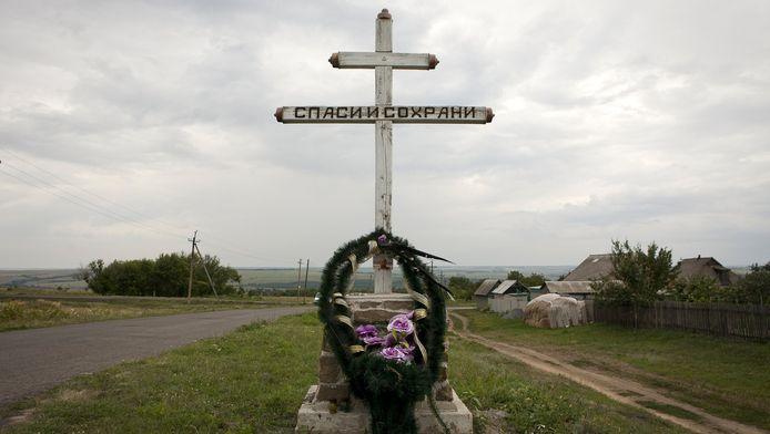 Een gedenktteken nabij Grabovo, de plaats waar vlucht MH17 werd neergehaald.