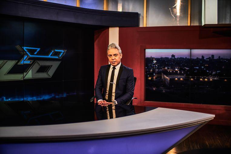 De Arabische tv-presentator Moataz Matar: 'Ik ga nog altijd zonder beveiliging over straat. Alleen God bepaalt wanneer ik vermoord word.' Beeld Joris van Gennep