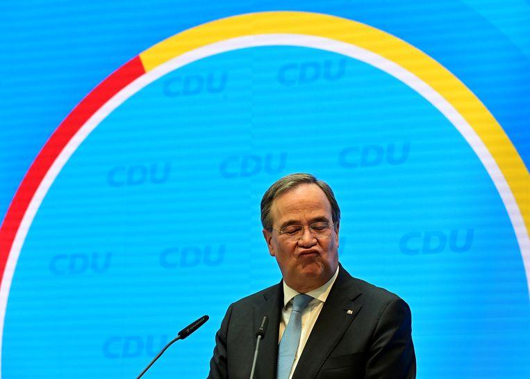 CDU-partijleider en minister-president van Noordrijn-Westfalen Armin Laschet woensdag bij de persconferentie in het CDU-hoofdkwartier in Berlijn. Beeld Tobias Schwarz / Reuters