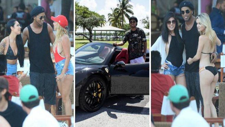 Ronaldinho vermaakt zich duidelijk opperbest in Miami, waar hij in deze voor hem afgezette bolide mocht rondrijden.