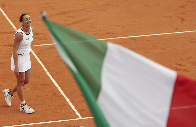 Pennetta bracht de Italiaanse meisjes op 1-0. Beeld UNKNOWN