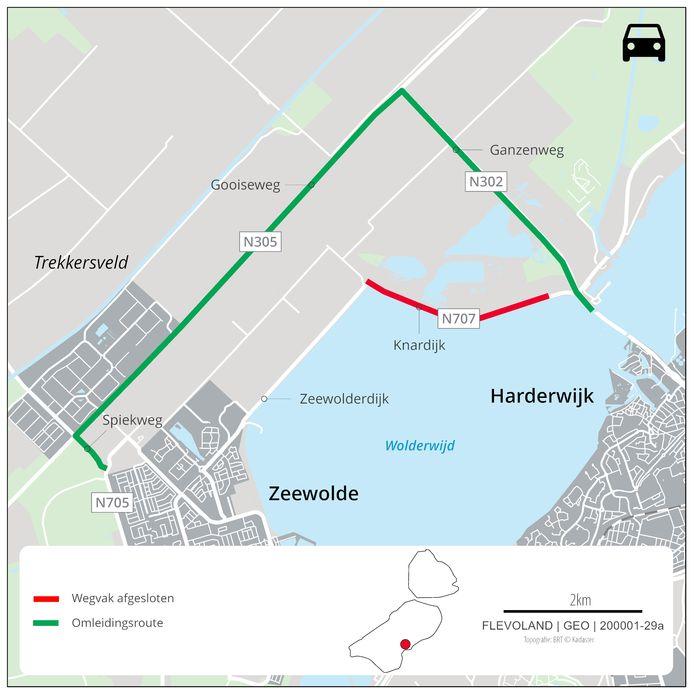 Van maandag 20 september tot en met vrijdag 8 oktober 2021 wordt er onderhoud verricht aan de N707 Knardijk. Er geldt dan een omleiding via de N305 Gooiseweg en de N302 Ganzenweg.