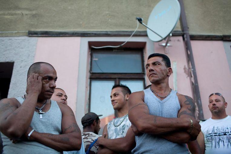 Roma-zigeuners in het Tsjechische dorp Varnsdorf. Beeld epa