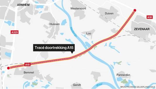 Het tracé van de nog door te trekken A15.