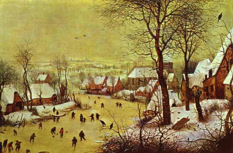 Pieter Bruegel de Oudere schilderde in 1565 'Winterlandschap met schaatsers en vogelknip'.