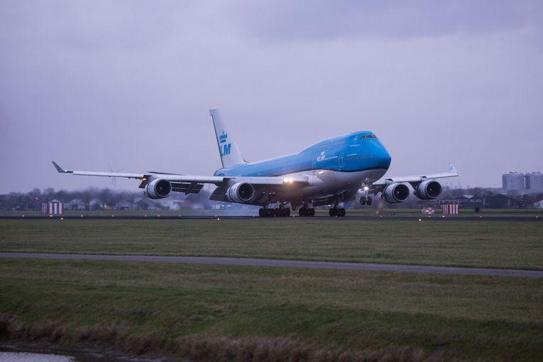Boeing 747-toestel van KLM op Schiphol. Beeld NurPhoto via Getty Images
