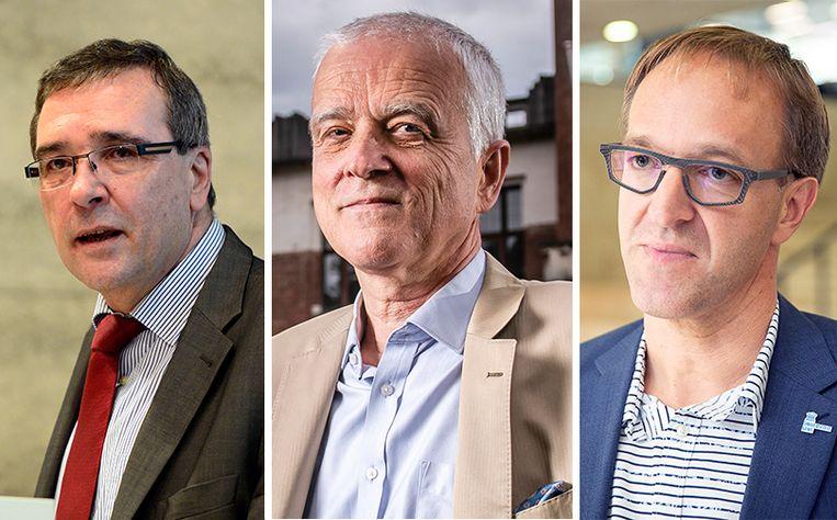 Rectoren Luc De Schepper (UHasselt), Herman Van Goethem (UAntwerpen) en Rik Van De Walle (UGent) riepen hun studenten alvast op uiterst voorzichtig te zijn met hun contacten. Beeld Belga, Gregory Van Gansen / Photo News,Belga