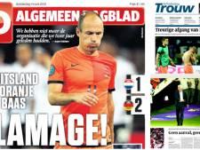 Kranten: Oranje in hemd, blamage, afgang