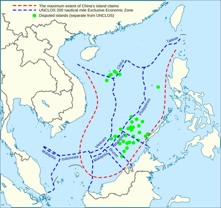 Een agressieve claim en gecontesteerde eilandjes doen de spanningen tussen China en zijn buren toenemen. Beeld Wikimedia Commons