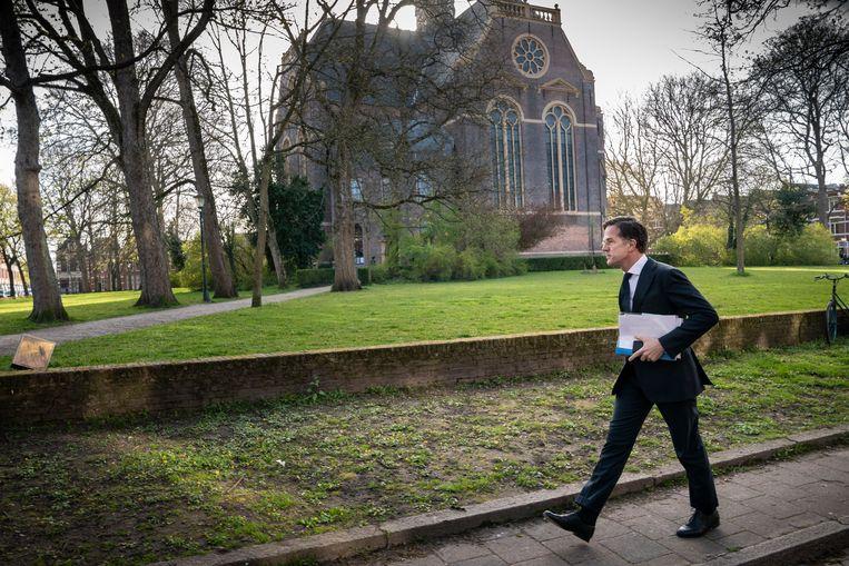Mark Rutte sprak in de Nieuwe kerk in Groningen met gedupeerden van de aardbevingsschade. Beeld reyer boxem