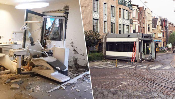 De tram reed tegen de gevel van een woonblok en vernielde een tandartsenpraktijk.