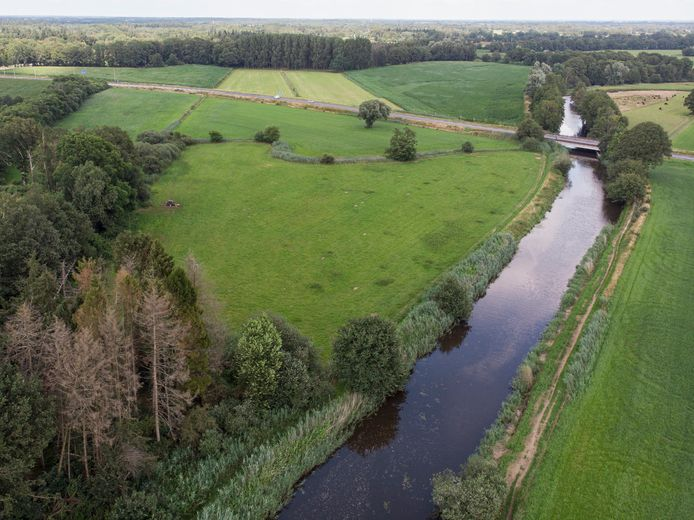 Regge wordt door waterschap in 2022 aangepakt, zodat ie weer gaat slingeren, Meanderen. Op de foto de Regge tot aan waar rivier kruist met N347.