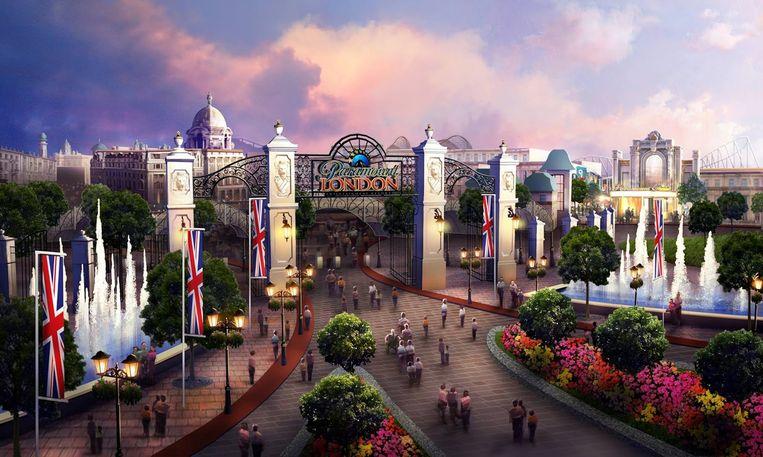 Een concept van het geplande pretpark van Paramount in Londen. Beeld rv