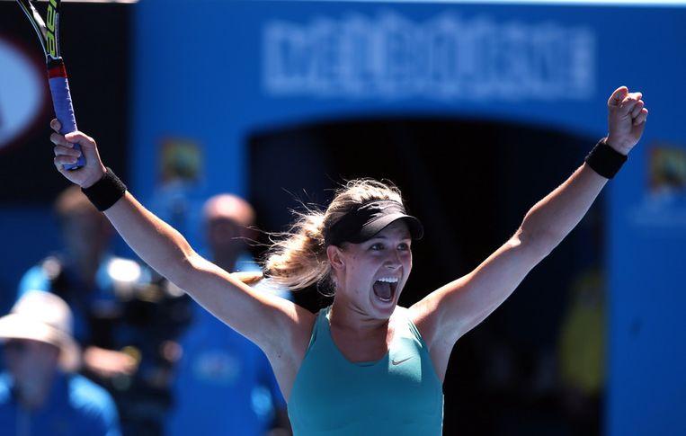 Eugenie Bouchard begroet haar overwinning. Beeld ap