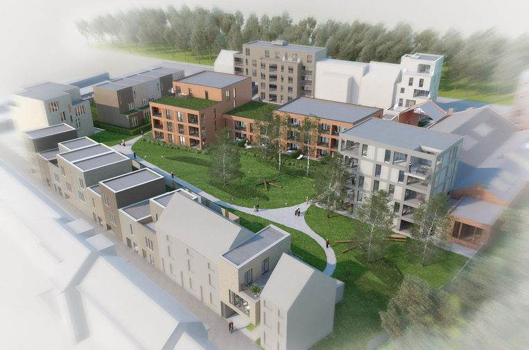 De groene site met 14 woningen en 59 appartementen.
