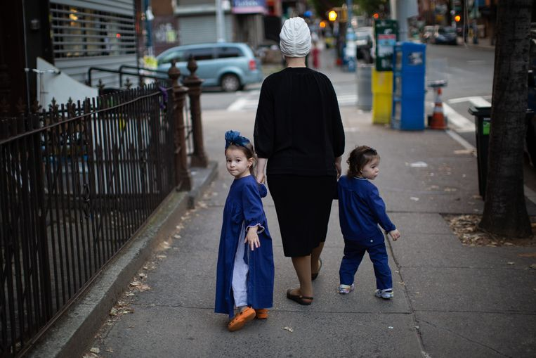 Ultraorthodoxe Joden in Williamsburg, tijdens Jom Kipoer. Beeld Getty