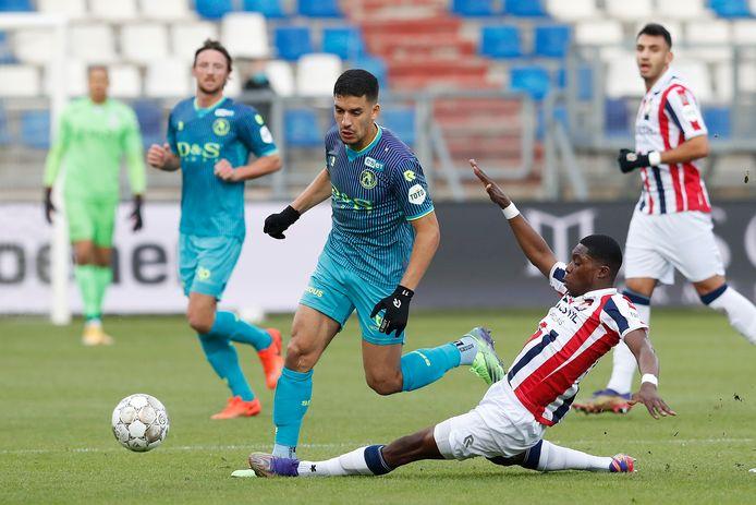 Abdou Harroui onlangs in actie voor Sparta tegen Willem II.