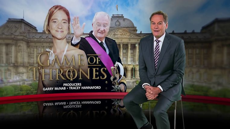 """""""Ik dacht altijd dat de Britse royals de meesters en meesteressen van de schandalen waren, maar nu moeten ze hun 'kroon' toch afgeven aan de Belgische koninklijke familie"""", zei presentator Liam Bartlett. Beeld 9News"""