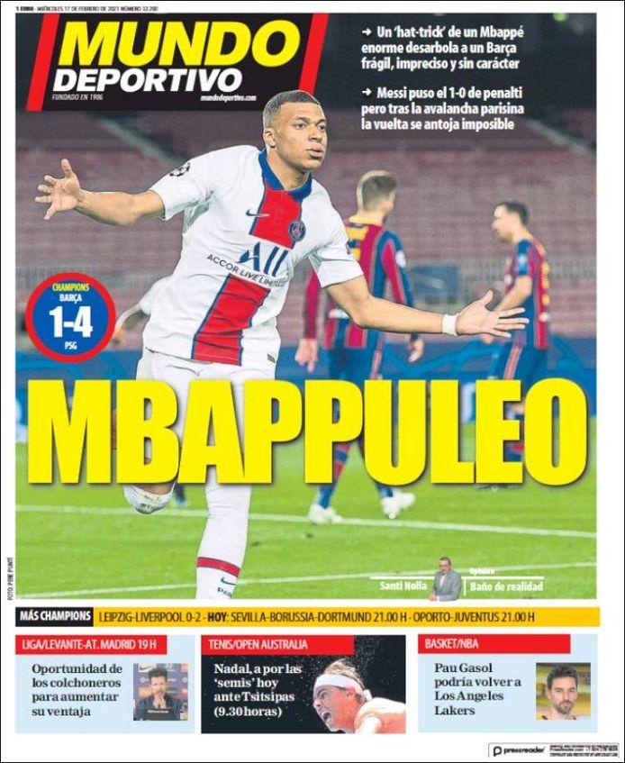 De voorpagina van El Mundo Deportivo.