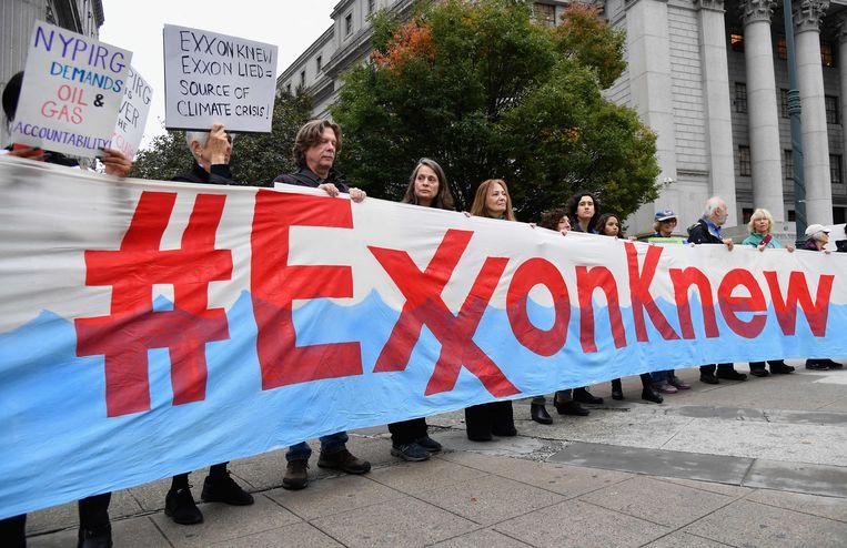 De activistische aandeelhouder bestrijd dat ExxonMobil de klimaatdoelen van Parijs volgt, zoals het bestuur stelt. Beeld AFP