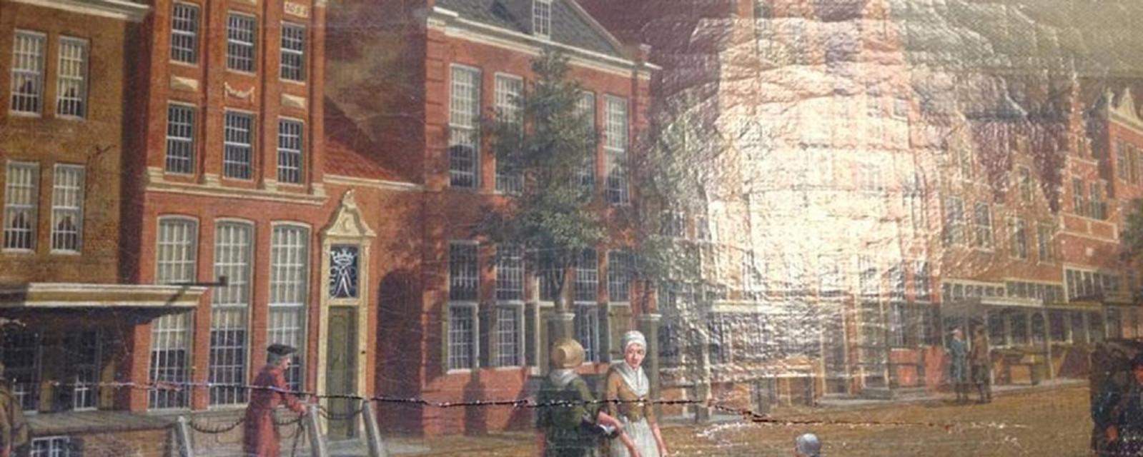 Een gedeelte van het werk Nieuwstraat in Hoorn (1784) van Izaak Ouwater