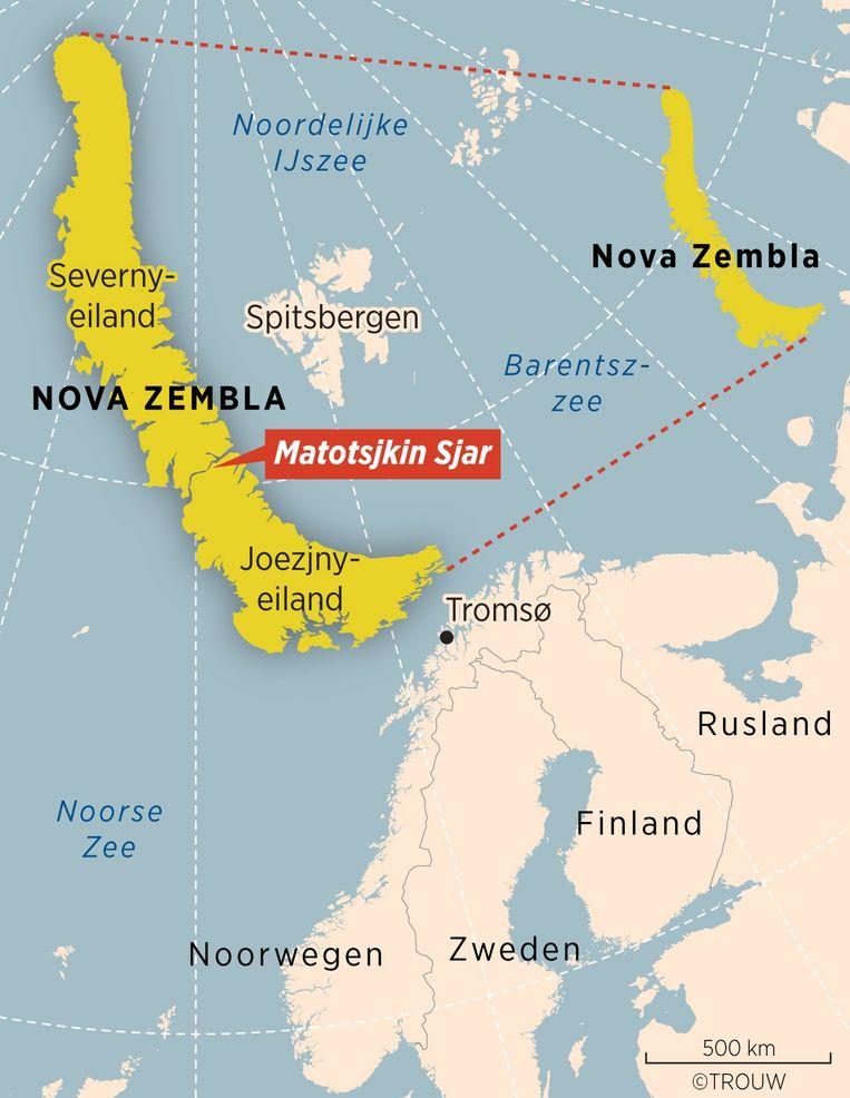 Het eiland Nova Zembla in het Noordpoolgebied Beeld TROUW Carto