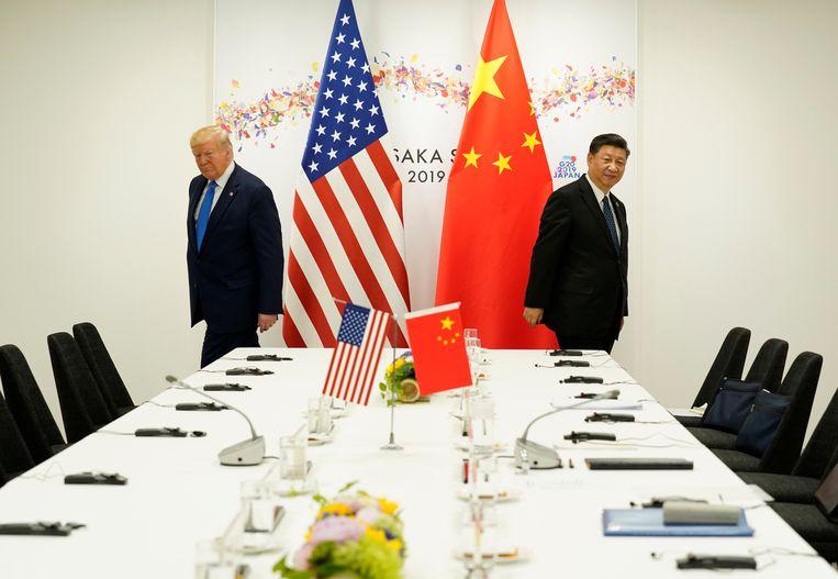 Juni 2019: Ontmoeting met China's president Xi Jinping bij de G20-top in Japan. Beeld Foto REUTERS