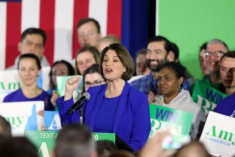 Amy Klobuchar spreekt haar aanhang toe in Concord, New Hampshire. (11/02/2020)