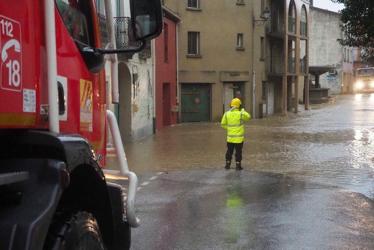 In het dorp Saint-Paul-de-Fenouillet in het zuiden van Frankrijk liepen heel wat straten onder water.