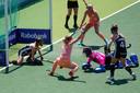 Marloes Keetels (8) heeft Oranje in de EK-finale tegen Duitsland (2-0) de openingstreffer gescoord. FOTO AP