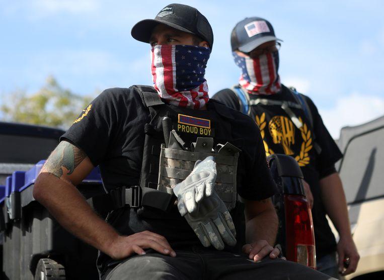 Proud Boys-militieleden in Portland, Oregon. Beeld REUTERS