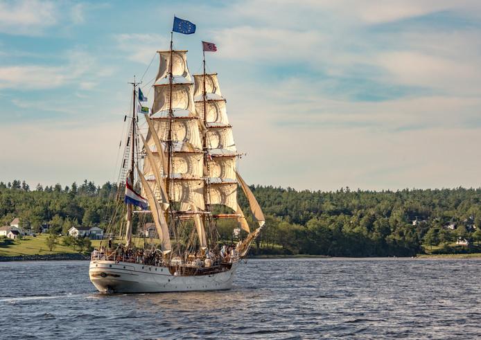 De bark Europa is een van de 24 tallships die tijdens de Liberty Tall Ships Regatta naar de haven van Scheveningen racen.
