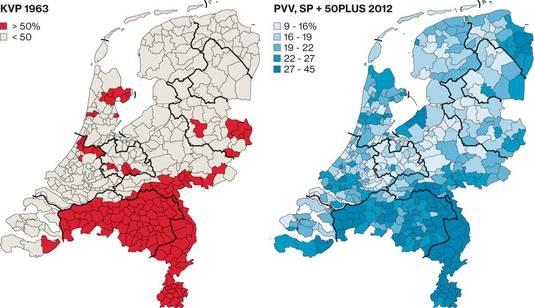 Vergelijk stemmers in de jaren 1963 en 2012.