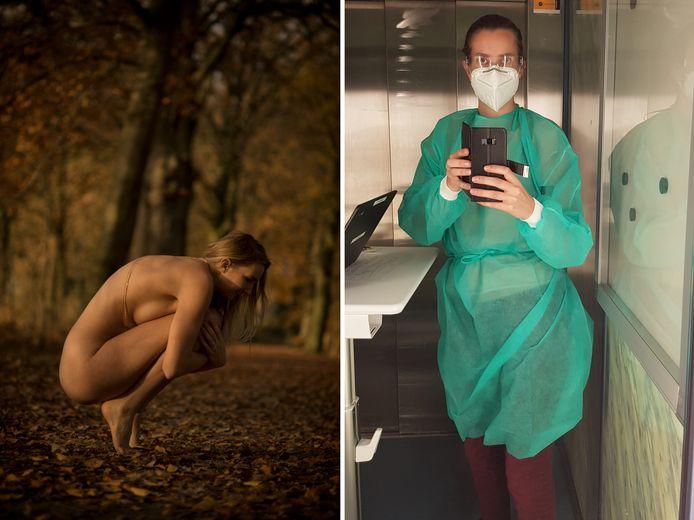 Sanne ging van naaktmodel naar verpleegkundige op de corona-afdeling.