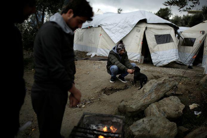 Vluchtelingen in kamp Moria op Lesbos, november 2017.