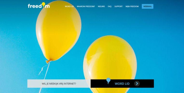De nieuwe website van Freedom Internet  Beeld
