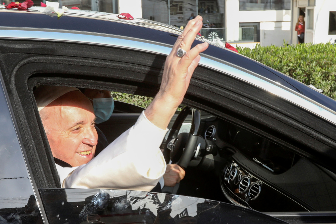 Le pape François à son arrivée à Erbil.