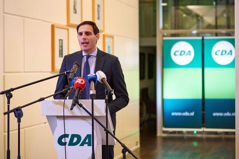 Wopke Hoekstra wordt op het partijbureau gepresenteerd als nieuwe lijsttrekker van het CDA.  Beeld ANP